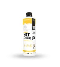 White and yellow container with black cap of North Coast Naturals Boosted MCT Cooking Oil showing coconut on the package