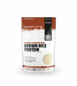 White and brown pouch of North Coast Naturals Organic Sprouted Raw Brown Rice Protein contains 340 g