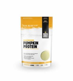 White and yellow pouch of North Coast Naturals Cold Pressed Pumpkin Protein shown in white background
