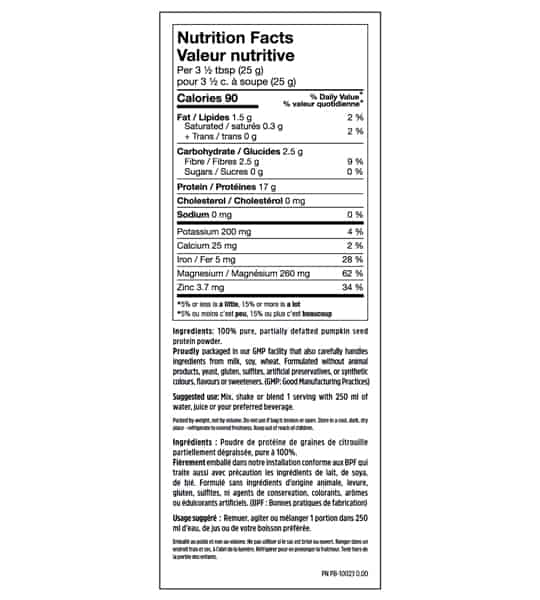 Nutrition facts and ingredients panel of North Coast Naturals Cold Pressed Pumpkin Protein serving size of 3 1/2 tbsp (25 g)
