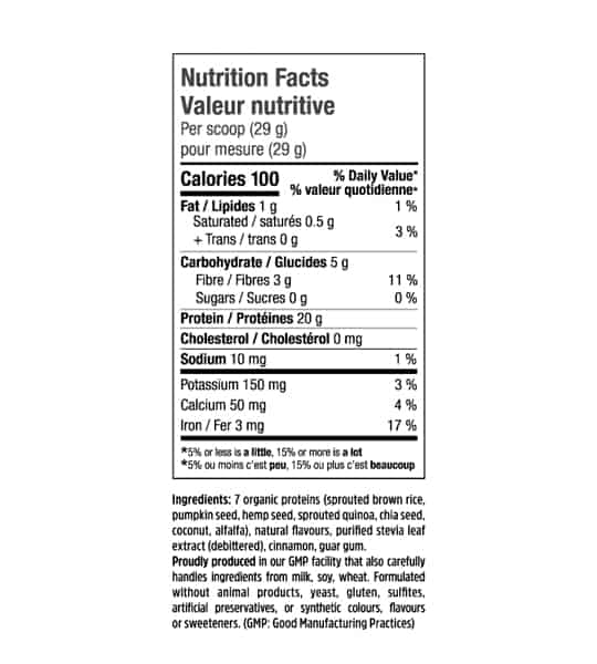 Nutrition facts panel of North Coast Naturals Complete Vege Pro7 serving size 1 scoop (29 g)