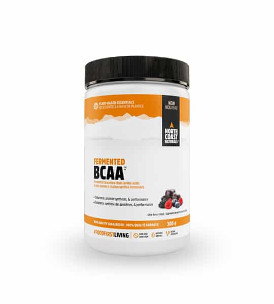 White and yellow container with black cap of North Coast Naturals Fermented BCAA contains 300 g