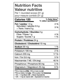 Nutrition facts panel of North Coast Naturals ISO Pro 100 for serving size 1 rounded scoop (31 g)