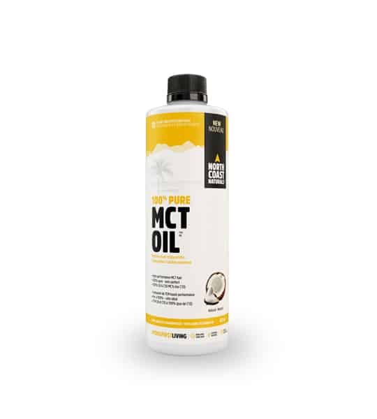 White and yellow container with black cap of North Coast Naturals 100% pure MCT Oil shows broken coconut on the package