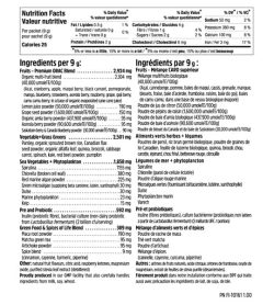 Nutrition facts and ingredients panel of North Coast Naturals Ultimate Daily Greens for serving size 1 packet (9 g)