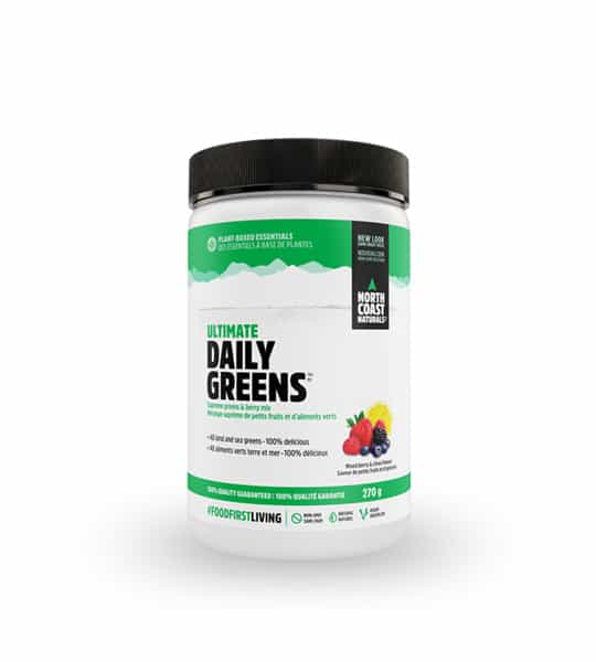 White and green container with black lid of North Coast Naturals Ultimate Daily Greens contains 270 g