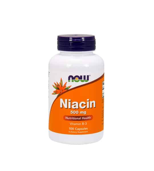 White container with blue cap and orange label of Now Niacin 500 mg Nutritional Health vitamin B-3 contains 100 capsules of dietary supplement