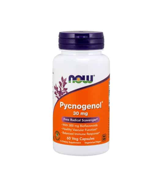 White container with blue cap and orange label of Now Pycnogenol 30 mg Free Radical Scavenger contains 60 Veg Capsules of dietary supplement