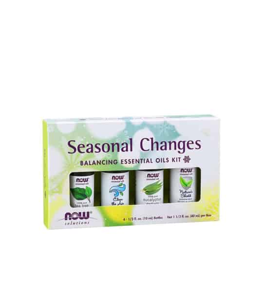 White box containing 4 bottle of NowSolutions Seasonal Changes balancing essential oils kit