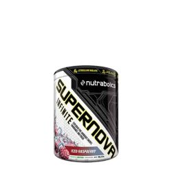 Black and white container of Ntrabolics Supernova Infinite with Iced Raspberry flavour
