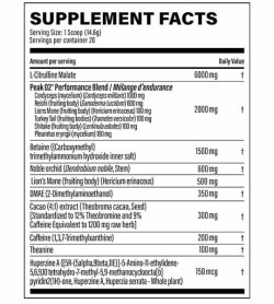 Supplement facts of Nutrabolics Supernova Infinite with black text in white background