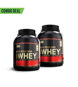 Combo deal 2 black containers with black cap and gold letters of ON Gold Standard 100% Whey shown in red accented label