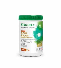 White bottle with green lid of Organika Your Natural Solution Ginger Bone Broth Chicken Protein Powder contains 300g
