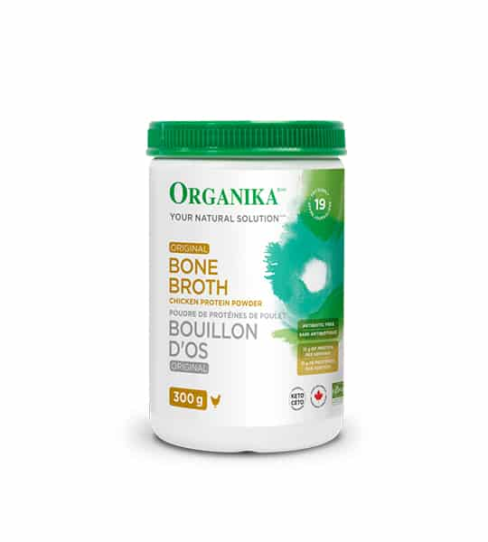 White bottle with green lid of Organika Your Natural Solution Original Bone Broth Chicken Protein Powder contains 300g
