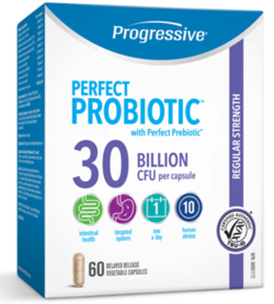 Progressive Perfect Probiotic with Perfect Prebiotic Regular Strength containing 30 Billion CFU per capsule, total 60 delayed release vegetable capsules