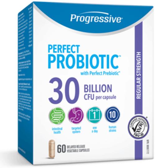 Progressive Perfect Probiotic with Perfect Prebiotic Regular Strength containing 30 Billion CFU per capsule, total 60 delayed release vegetable capsules