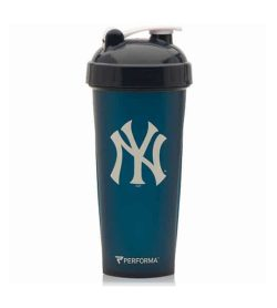 Performa blue shaker with black lid MLB New York Yankees logo in white and showing the cup in white background