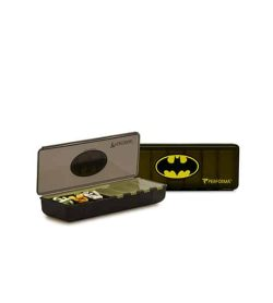 Two black containers of Performa Batman pill container with one open and showing pills inside