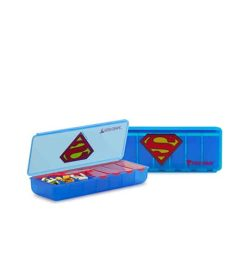 Two blue containers of Performa Superman pill container with one open and shows pills inside