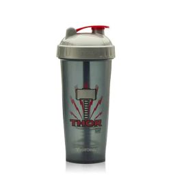 Performa black shaker with silver lid DC comics Thor logo in red and showing the cup in white background