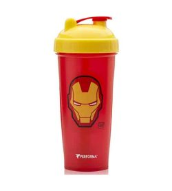 Performa red shaker with yellow lid Marvel Iron Man logo in yellow and showing the cup in white background