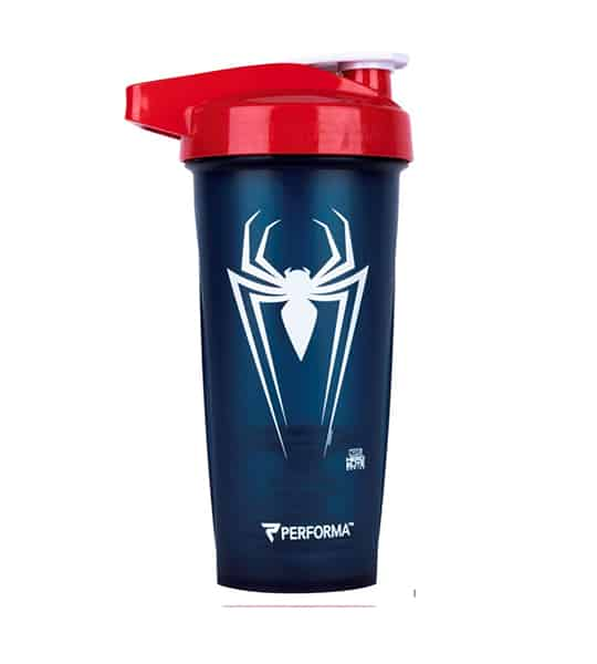 Performa black shaker with red lid Marvel Spider man logo in white and showing the cup in white background