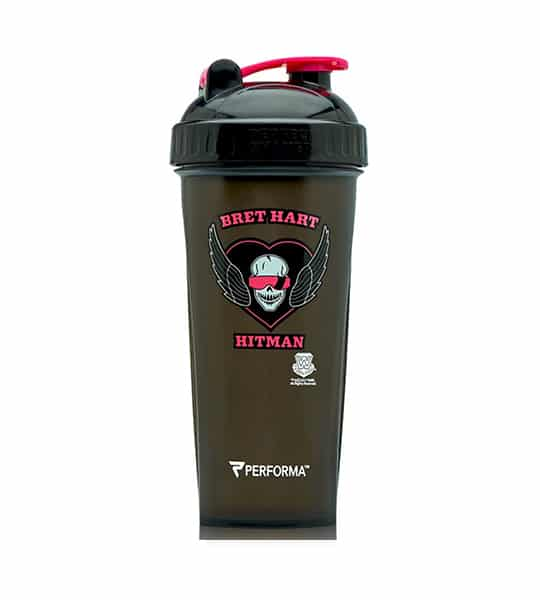 Performa black shaker with black lid WWE variant showing Bret Hart Hitman picture in white and pink