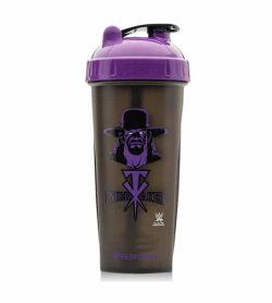 Performa black shaker with purple lid WWE variant showing UnderTaker picture in purple