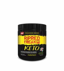 Black container with black lid of Pharmafreek's new Freakmode series Ripped Freak Keto showing bold letters in red and yellow