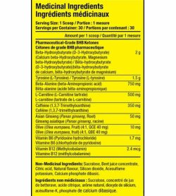 Medicinal Ingredients panel for Pharmafreak Ripped Freak Keto with serving size 1 scoop totalling 30 servings per container