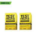 Combo deal 2 yellow boxes of Test Freak with Clinically Researched Compounds shown in black text