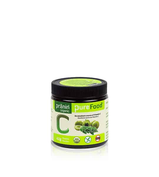 Bottle with black cap and green label of PraninOrganic PureFood C contains 42g which is an excellent source of vitamin C