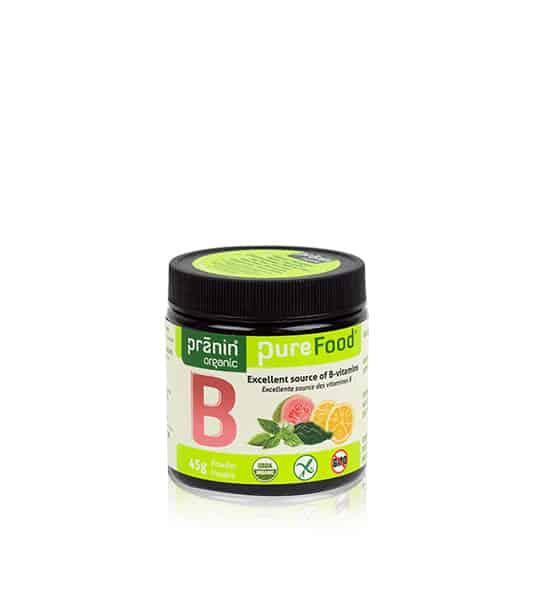 Bottle with black cap and green label of PraninOrganic Pure Food B contains 500g which is excellent source of B-vitamins