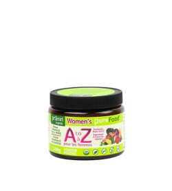 Bottle with black cap and green label of PraninOrganic Women's Pure Food AtoZ powder contains 500g