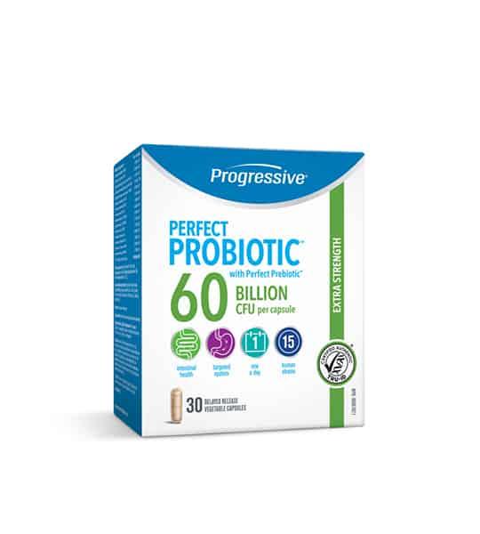 White, blue and green box of Progressive Perfect Probiotic with Perfect Prebiotic 60 billion CFU per capsule contains 30 veg capsules