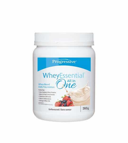 White container with white cap of Progressive WheyEssential All in one Unflavoured Whey-based daily foundation contains 360g