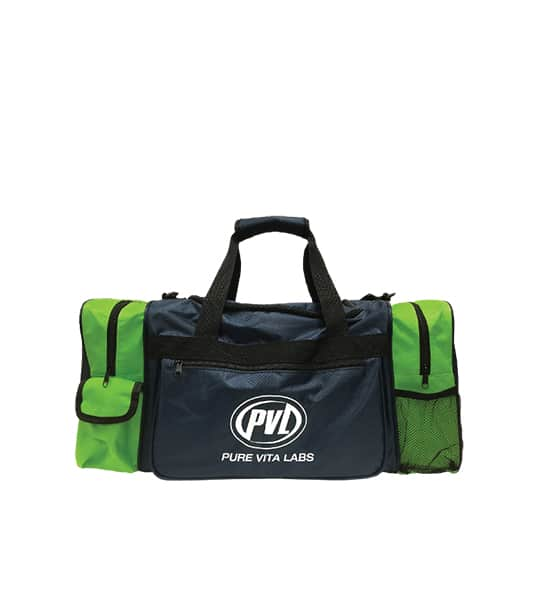Green and Blue PVL Pure Vita Labs gym bag shown in white background