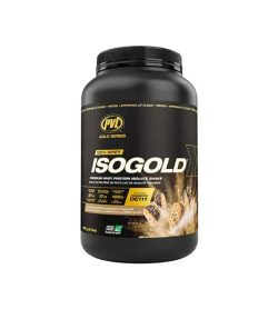 Black container with black cap of PVL ISOGOLD 100% Whey supplement contains 2lb