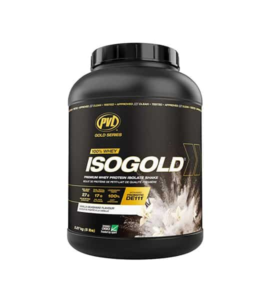 Black container with black cap of PVL ISOGOLD 100% Whey supplement contains 5lb (2.27kg)