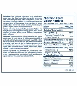 Nutrition facts and ingredients panel of PVL Sport Gainer serving size 4 scoops (216 g)