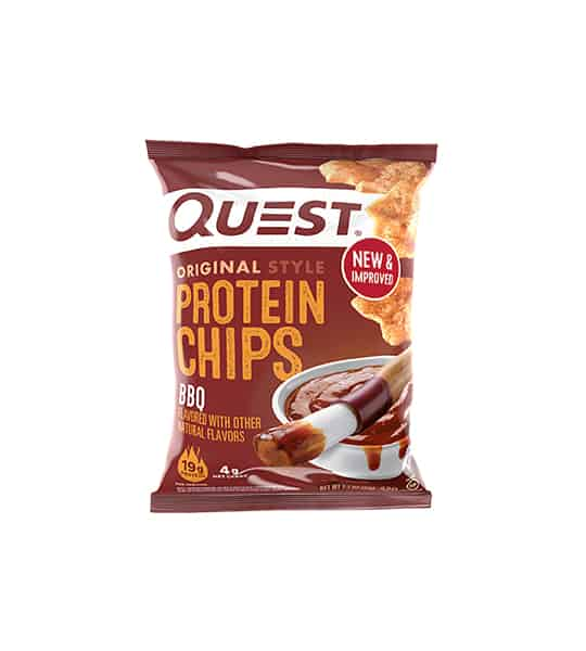Brown bag of Quest Original Style Protein Chips BBQ flavour showing sauce and chips in the package