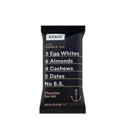 Black pouch in white background with white text of RXBAR Chocolate Sea Salt 12g protein bar
