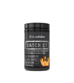 Black container with black lid of TC Nutrition Batch 27 Pre Workout dietary supplement