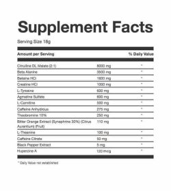 Supplement facts panel of TC Nutrition Batch-27 for serving size 18 g shown in black text in white background