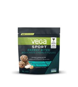 Black pouch with green, blue and yellow accents with white background of Vega Sport Energy Bites contains 100 g