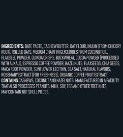 Ingredients panel of Vega Sport Energy Bites shows white text in black background