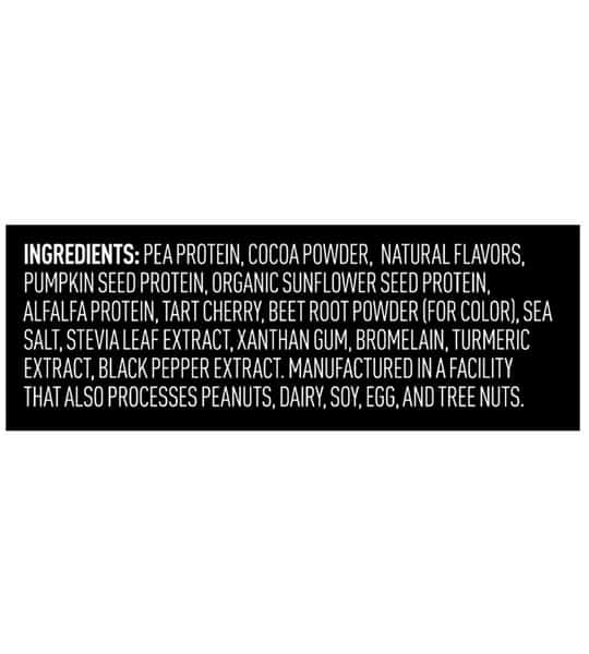 Ingredients panel of Vega Sport Protein showing white text on black background