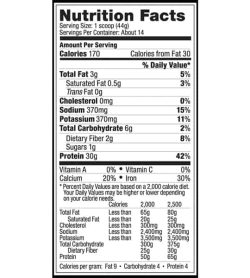 Nutrition facts panel of Vega Sport Protein for serving size 1 scoop (44 g) with about 14 servings per container