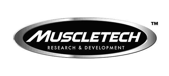 Logo for Muscletech research and development white font with black oval background chrome border - products available for sale at Supplements Direct Canada