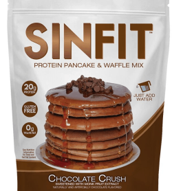 Sinfit protein pancake & waffle mix Chocolate Crush flavor has 20g Protein, Gluten Free and 0g Trans fat and net wt 12.06 oz (342g)
